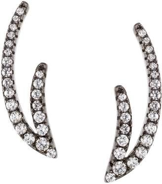Italian Silver Double-Wave Crystal Ear Climber Earrings
