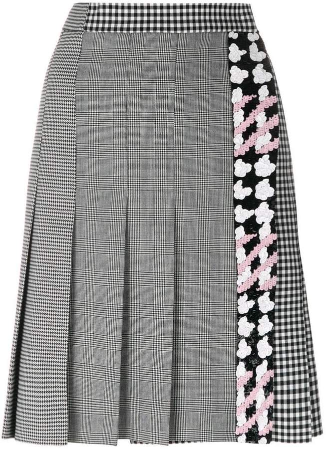MSGM check pleated skirt