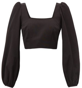Racil Pat Square Neck Moire Cropped Top - Womens - Black