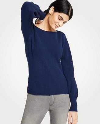 Ann Taylor Ribbed Boatneck Lantern Sleeve Sweater