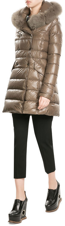 Duvetica Duvetica Down Coat with Fox Fur-Trimmed Hood