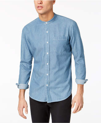 American Rag Men's Denim Banded Collar Shirt, Created for Macy's