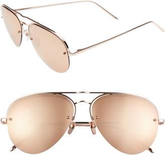 Linda Farrow 60mm Mirrored 18 Karat Gold Aviator Sunglasses