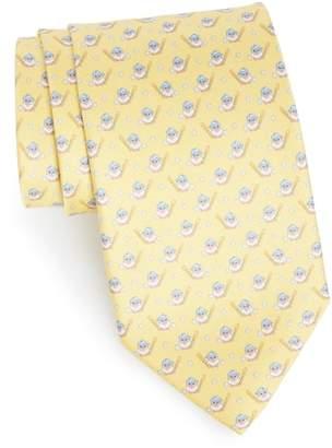 Salvatore Ferragamo Effe Owl & Bat Print Silk Tie