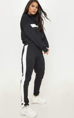 PrettyLittleThing Black Contrast Side Stripe Straight Leg Jogger