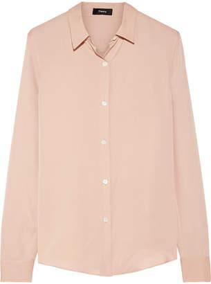 Theory Tenia Silk Crepe De Chine Shirt - Blush