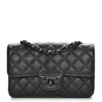 Chanel Rectangular Flap Quilted So Black Diamond Mini Black