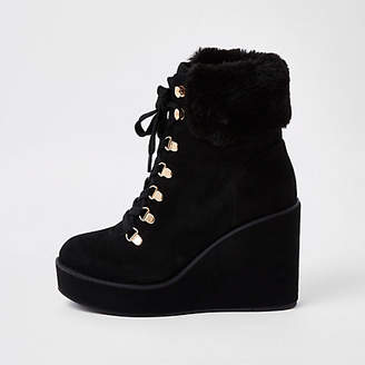 River Island Black lace-up wedge heel boots
