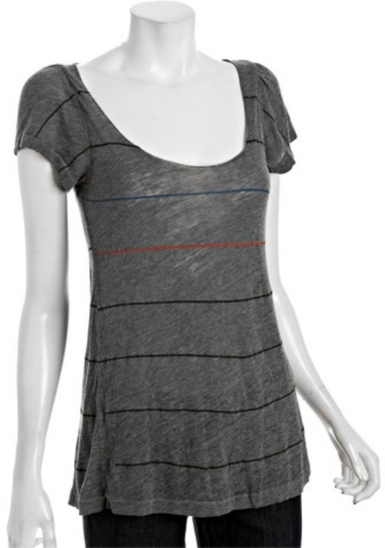 Rebel Yell grey stripe 'Shine' flutter sleeve t-shirt