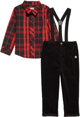 Pippa Little Brother by & Julie Plaid Shirt, Corduroy Pants, Suspenders & Bow Tie Set