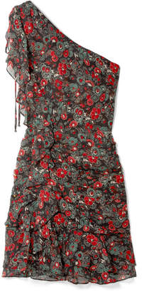Veronica Beard Ballard One-shoulder Ruffled Floral-print Silk-chiffon Mini Dress - Charcoal