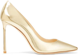 Romy Mirrored-leather Pumps - Gold