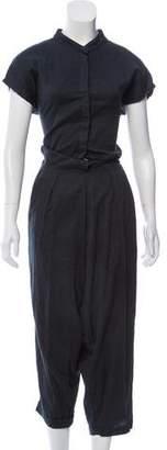 Black Crane Straight-Leg Short Sleeve Jumpsuit