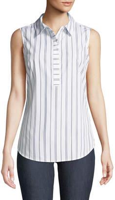 Iconic American Designer Striped Sleeveless Wrinkle-Free Blouse