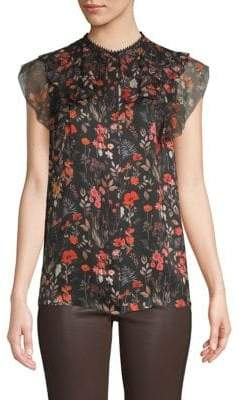 Elie Tahari Mala Silk Floral Printed Blouse