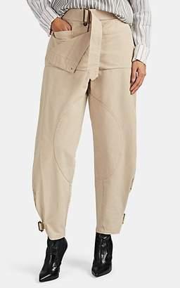 J.W.Anderson Women's Denim Foldover Utility Pants - Beige, Tan