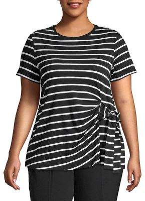 Lord & Taylor Plus Striped Asymmetrical Tied Flutter Tee