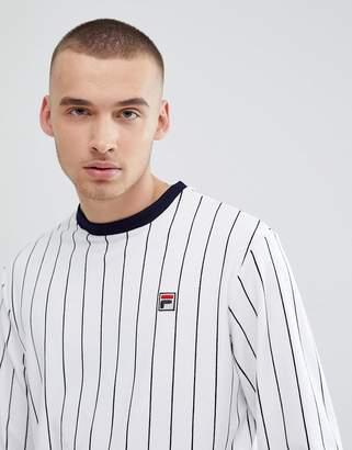 Fila Vintage Velour Striped Sweatshirt In White