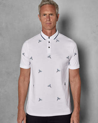 Ted Baker HAPNETT Bird embroidered cotton polo shirt