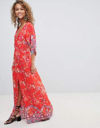 Miss Selfridge kimono sleeve floral printed maxi dress
