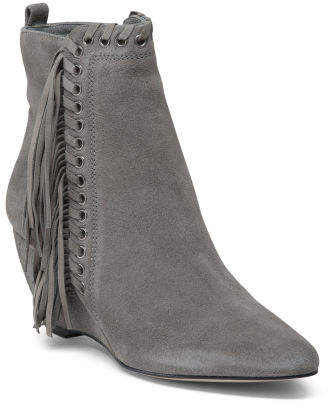 Made In Brazil Wedge Suede Ankle Booties