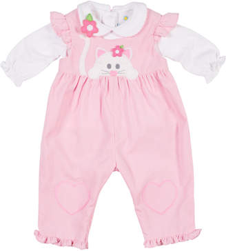 Florence Eiseman Corduroy Ruffle Cat Applique Overalls w/ Long-Sleeve Top, Size 3-24 Months