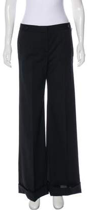 RED Valentino Wool Mid-Rise Wide-Leg Pants