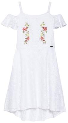 Marciano Embroidered Lace Cold Shoulder Dress