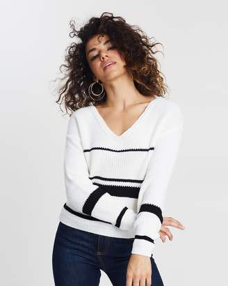 Miss Selfridge Petite Mono Striped Jumper
