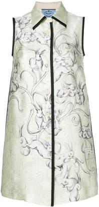 Prada rabbit-print sleeveless dress