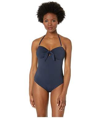 d72523ad6c25b MICHAEL Michael Kors Tie Front Bandeau One-Piece with Removeable Soft Cups  Removeable Straps