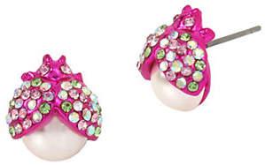 Betsey Johnson Blooming Betsey Pearl Beetle Stud Earrings