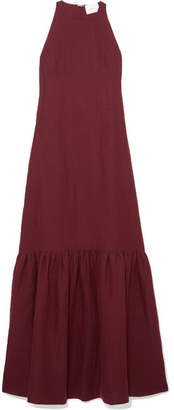 Marios Schwab On The Island By Ogygia Linen Maxi Dress - Burgundy