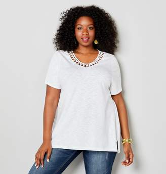 Avenue Plus Size V-Neck Tee With Knotted Openweave Panel At Neckline
