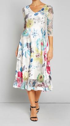 V Neck 3/4 Sleeve Lace Dress $308 thestylecure.com