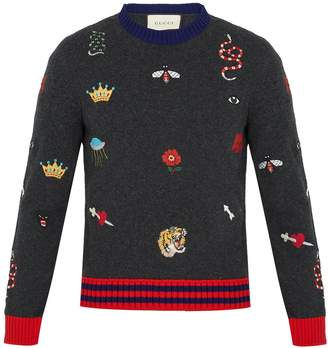 Gucci Embroidered wool-knit sweater