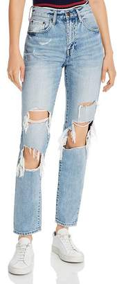 Pistola Denim Presley High-Rise Distressed Straight-Leg Jeans in Medium Blue