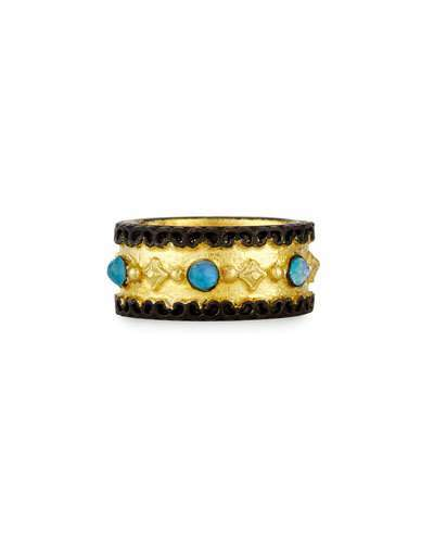 ArmentaArmenta Old World Wide Band Ring with Neon Apatite & White Quartz, Size 7