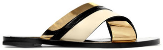 Lanvin - Matte And Patent-leather Slides - Gold $570 thestylecure.com