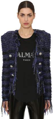 Balmain Fringed Tweed & Lurex Blazer