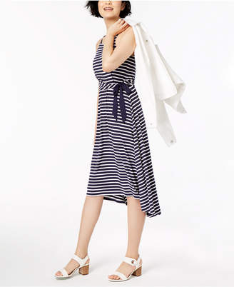 Maison Jules Striped High-Low Fit & Flare Dress