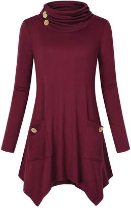 DAY Birger et Mikkelsen Hibelle Flowy Tunic, Womans Cowl Neck Dressy Chic Stylish Pleated Tee Shirts Baggy Trapeze Blouses Tops Legging 2017 Red L