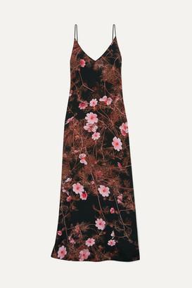 Dries Van Noten Floral-print Silk Crepe De Chine Maxi Dress - Black