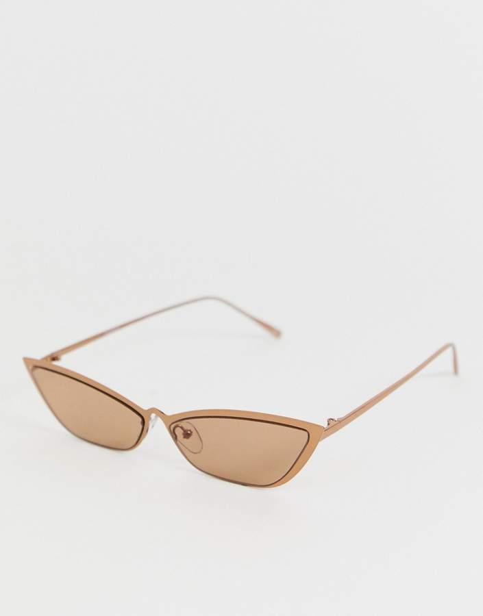 ASOS DESIGN Small Metal Square Cat Fashion Glasses