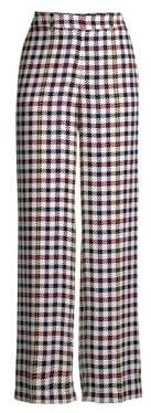 Equipment Women's Silk Plaid Wide Leg Trousers - Bright White Multi - Size 6