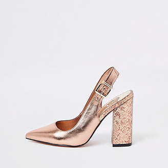f69467423390 River Island Womens Gold wide fit slingback court shoes