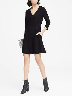 Banana Republic Solid V-Neck Fit-and-Flare Dress