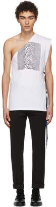 Raf Simons White and Black Asymmetric T-Shirt