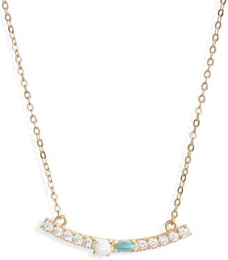 Nordstrom Cubic Zirconia & Stone Bar Necklace