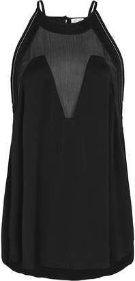 Reiss Adara - Embellished Halter Neck Top in Black
